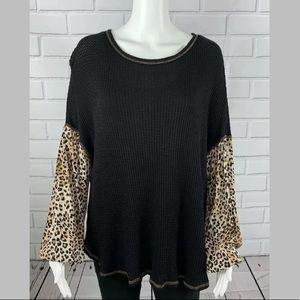 Hummingbird Waffle Blouse Shirt Cheetah print s